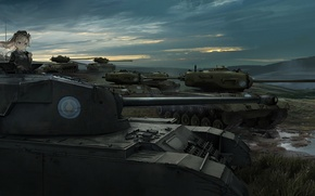 Picture the sky, girl, clouds, landscape, sunset, nature, weapons, anime, art, soldiers, tanks, girls and panzer, …