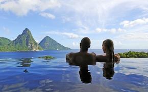 Picture sea, landscape, pool, pair