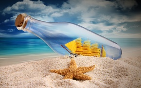 Picture sand, sea, the sky, ship, bottle, sails, starfish