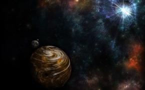 Picture rays, nebula, star, planet