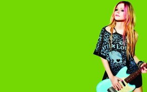 Picture Avril Lavigne, green, Avril Lavigne, brand, background, clothing, actress, model, singer, music, guitar, photographer, Lotto, ...
