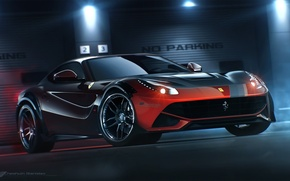 Picture Ferrari, Red, Front, Tuning, Berlinetta, F12, 2014, Ligth