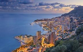 Wallpaper sea, coast, panorama, night city, Monaco, The Ligurian sea, Monaco, Monte Carlo, Monte Carlo, French ...