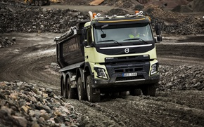 Picture road, stones, dust, Volvo, truck, Volvo, 2013, quarry, FMX, 8x4, machinery, samawal