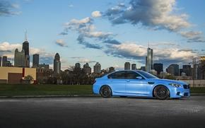 Picture lawn, blue, BMW, BMW, f10, the curb, Yas Marina Blue