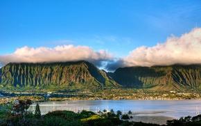 Picture clouds, mountains, tropics, palm trees, coast, island, yachts, valley, Hawaii, panorama, Bay, Koolau