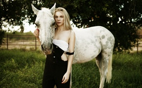 Picture girl, nature, friends, horse
