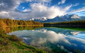 Wallpaper rainbow, lake, reflection, mountains, forest, the sky, clouds