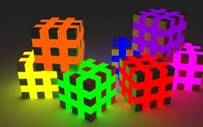 Picture faces, rainbow, color, the volume, light, cubes, strip