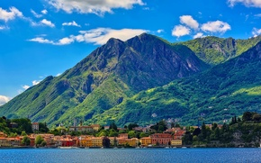 Picture lake, the sky, mountains, clouds, home, trees, the city