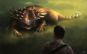 Picture field, grass, figure, people, monster, being, fantasy, art