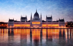 Picture night, lights, reflection, river, backlight, Parliament, Hungary, Budapest, The Danube