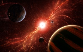 Picture energy, space, the explosion, star, planet, art, satellites
