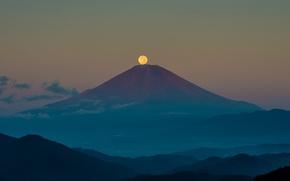 Wallpaper Japan, moon, twilight, clouds, hills, dusk, full moon, Fuji