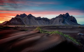 Picture beach, mountains, Iceland, Stones