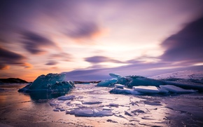 Picture ice, sea, the sky, shore, Iceland, lump