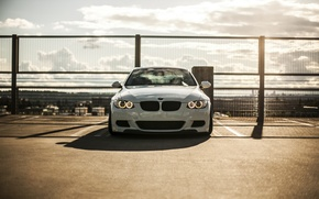 Picture white, bmw, BMW, the fence, white, the front, e92, running lights