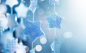 Wallpaper stars, macro, glare, holiday, Shine, new year, sequins, new year, garland, blue background