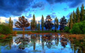 Picture the sky, clouds, trees, reflection, river, HDR, New Zealand, New Zealand, Te Anau