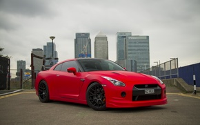 Picture the sky, red, the city, building, nissan, red, front view, Nissan, gtr, gtr, r35