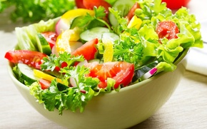 Picture food, bow, pepper, tomatoes, parsley, cucumbers, salad