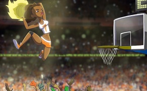 Picture girl, jump, basket, the ball, hands, art, basketball, che-che