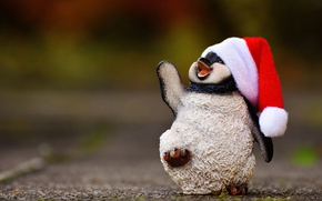 Picture pose, smile, background, holiday, toy, new year, Christmas, positive, muzzle, penguin, Santa Claus, Santa, penguin, …