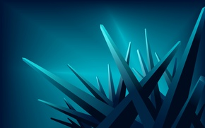 Wallpaper blue, rays, corners, crystals