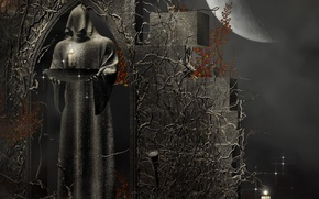 Wallpaper rendering, death, candles, priest, The moon, figure, hood, death, rendering, fantasy, Dark dream, patterns, stone, ...