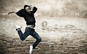 Picture mood, jump, Music, headphones, male