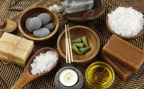 Picture candle, soap, soap, Spa, Spa, candle, sea salt, Spa stones, sea salt, Spa rocks