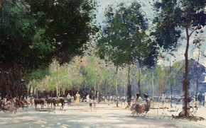 Picture landscape, picture, alley, Edward Seago, May Day on the Champs Elysees in Paris