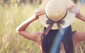 Picture greens, grass, girl, nature, background, Wallpaper, mood, plant, blur, hat, hands, brunette, tape, bow