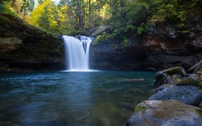 Picture forest, Oregon, waterfall river, the South Fork Coquille River, Coos County
