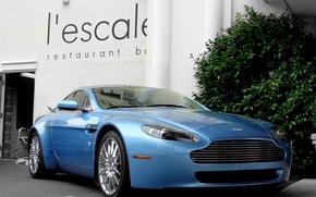 Picture Aston Martin, Vantage, wheels, blue, hrome