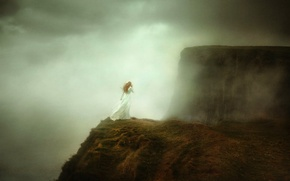 Picture girl, fog, open, TJ Drysdale, Cliffs of Moher