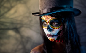 Picture girl, hat, makeup, mask, beads