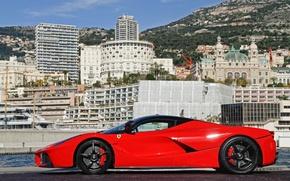 Picture red, black, profile, red, ferrari, Ferrari, drives, the laferrari, laferrari