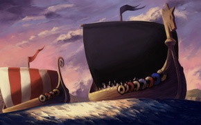 Wallpaper ships, veroniki, art, swimming, the wind, shore, the Vikings, strip, shields, sea