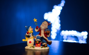 Picture deer, New year, snowman, Santa Claus, HNY