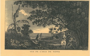 Picture Pacific Ocean islands, New Hebrides, old engraving