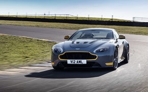 Picture car, Aston Martin, speed, turn, car, road, V12, speed, Vantage S, Sport-Plus Pack