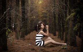 Picture forest, girl, pose