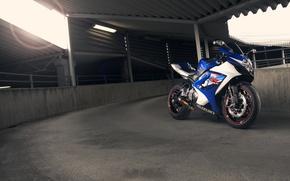 Picture blue, motorcycle, suzuki, Blik, front view, bike, blue, Suzuki, supersport, gsx-r1000
