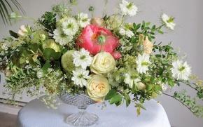 Picture Roses, Vase, photo, Flowers, Bouquets, Peonies Spiraea, Nigella