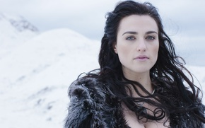 Picture woman, beautiful, snow, actress, Morgana, Merlin, Katherine Elizabeth McGrath