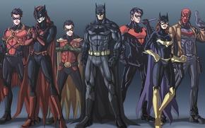 Picture art, Batman, Batman, Robin, Nightwing, Batgirl