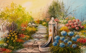 Picture trees, flowers, garden, stage