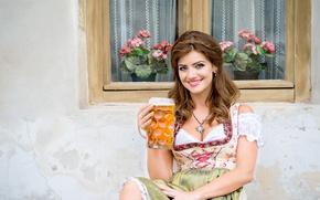 Picture girl, decoration, smile, house, wall, beer, window, mug, brown hair, curls, geranium