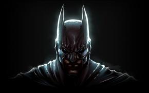 Wallpaper eyes, face, dark, mask, ears, knight, cloak, The Dark Knight, Batman